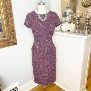 Boden Purple Chic Tweed Shift Dress w Pockets